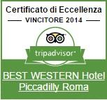 The Best Western Hotel Piccadilly has received the certificate of excellence tripadvisor 2014 for rave reviews received