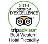 2016 tripadvisor certificat d'excellence pour le Best Western Hotel Piccadilly Rome