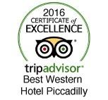 The Best Western Hotel Piccadilly still gets the tripadvisor certificate of excellence
