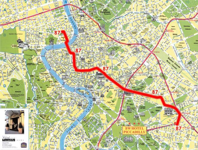 Autobús Línea Roma Mapa 87 - Hotel Piccadilly, en el centro de Roma